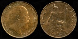 World Coins - 1907 Great Britain 1/2 Penny AU