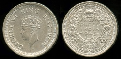 World Coins - 1945 B India (British) 1/2 Rupee UNC