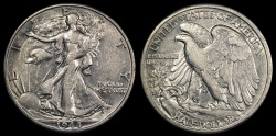 Us Coins - 1944 D Walking Liberty Half Dollar AU