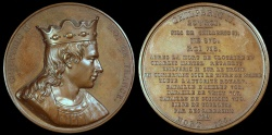 """World Coins - 1840 France - Chilperic II,  King of Neustria and King of the Franks (718-721) by Armand-Auguste Caqué for the """"Kings of France Series"""" #20"""