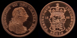 World Coins - 1808 Great Britain Crown, George III - Medallic Issue (2007), Copper Proof