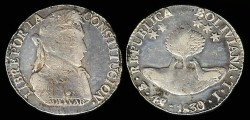 World Coins - 1830 JL-PTS Bolivia 4 Soles F