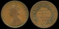 World Coins - 1862 India (British) 1/2 Anna F