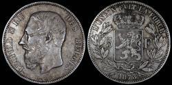 World Coins - 1873 Belgium 5 Franc - Leopold II - XF