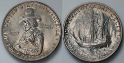 Us Coins - 1921 Pilgrim Commemorative Silver Half Dollar (Only 20,053 pieces were struck) BU