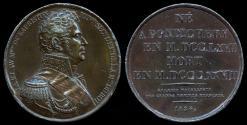 World Coins - 1826  France - Jacques Alexandre Bernard Law, marquis de Lauriston and Napoleonic General by Jean-Auguste Barre for the Gallerie Metallique des Grands Hommes Francais series.