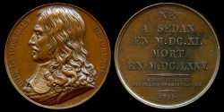 World Coins - 1819  France - Henri de la Tour d'Auvergne, Vicomte de Turenne a Marshal General of France by Raymond Gayrard for the Galerie Metallique des Grands Hommes Francais