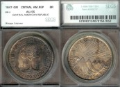 World Coins - 1847 NG-A Central American Republic 8 Reales SEGS AU55