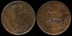 World Coins - 1870 Great Britain 1/2 Penny AU