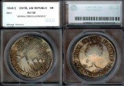 World Coins - 1846/2 NG-AE/MA Central American Republic 8 Reales SEGS AU50