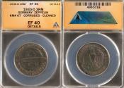"World Coins - 1930 D Weimar Republic 3 Reichsmark ""Graf Zeppelin Flight"" Silver Commemorative ANACS EF40"
