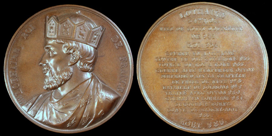 """World Coins - 1838 France - Lothair, Carolingian king of West Francia (954 - 986) by Armand-Auguste Caqué for the """"Kings of France Series"""" #34"""