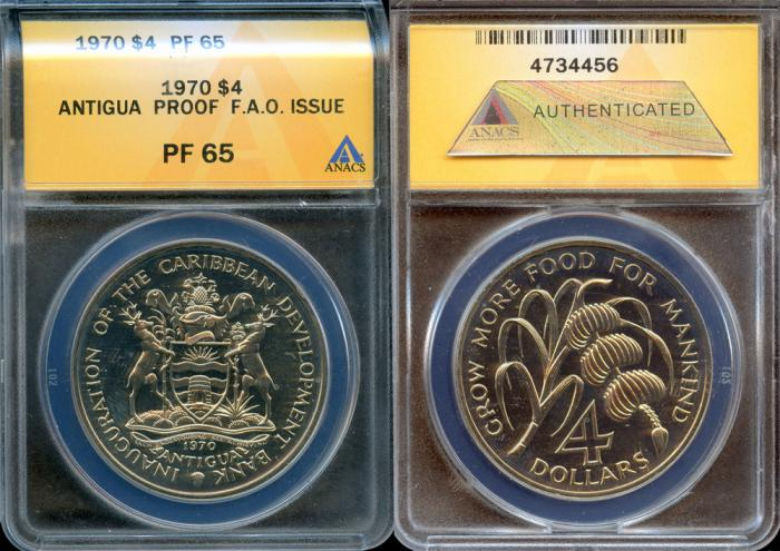 World Coins - 1970 Antigua 4 Dollars - F.A.O. Issue - ANACS PF65 (Only 2,000 Struck)