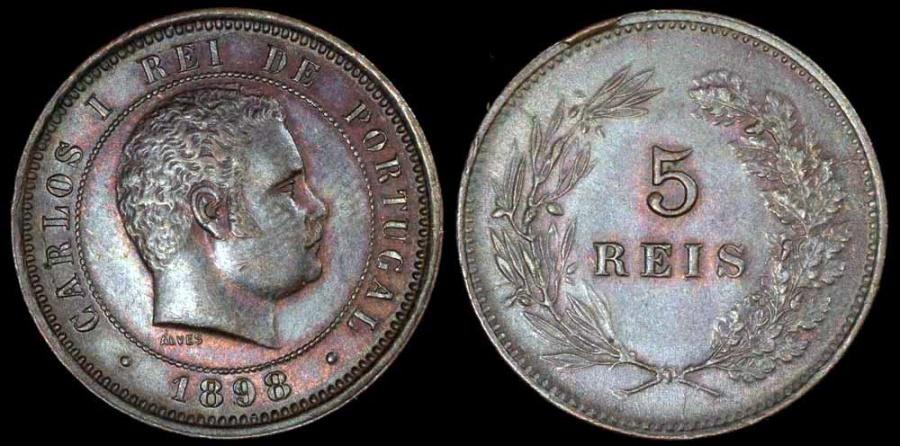 World Coins - 1898 Portugal 5 Reis - Carlos I - AU