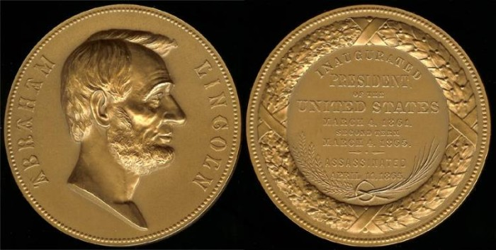 US Coins - 1865 Abraham Lincoln - US Mint Medal