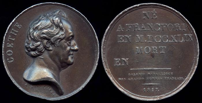 World Coins - 1817 France - Johann Wolfgang von Goethe (German writer, artist, and politician) by Jean François Antoine