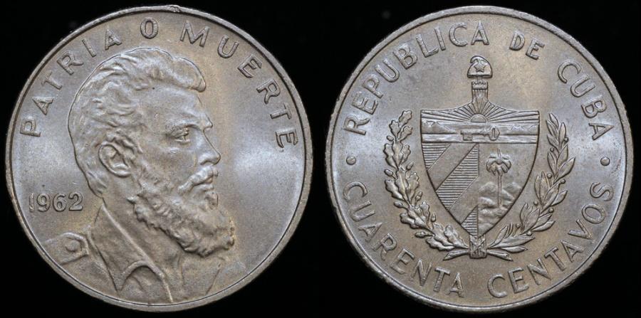 World Coins - 1962 Cuba 40 Centavos BU