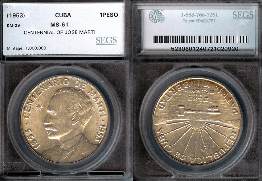 World Coins - 1953 Cuba 1 Peso - Centennial of Jose Marti – Silver Commemorative - SEGS MS61