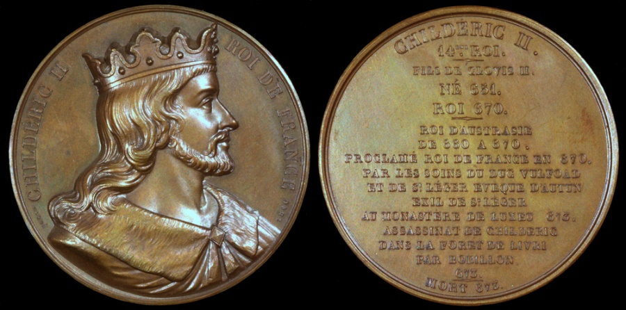 """World Coins - 1840 France - Childeric II, King of Austrasia, of Neustria, of Burgundy and the Franks (662 - 675) by Armand-Auguste Caqué for the """"Kings of France Series"""" #14"""