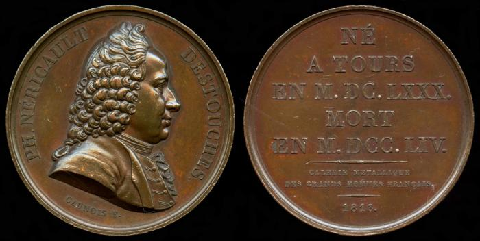 World Coins - 1816 France - Philippe Néricault Destouches, French Dramatist by Francois-Augustin Caunois