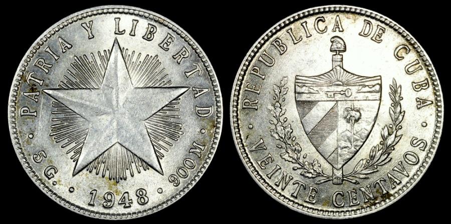 World Coins - 1948 Cuba 20 Centavos UNC