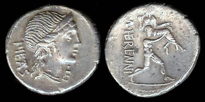 Ancient Coins - M. Herennius Denarius (108-107 BC)