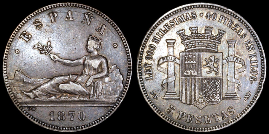 World Coins - 1870 (70) SN-M Spain (Provisional Government) 5 Pesetas XF