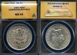 World Coins - 1963 Dominican Republic 1 Peso - 100th Anniversary Restoration of the Republic Silver Commemorative ANACS MS64