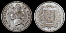 World Coins - 1961 Dominican Republic 5 Centavos AU