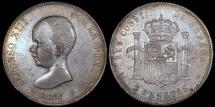 World Coins - 1888 (88) MP-M Spain 5 Pesetas - Alfonso XIII - AU