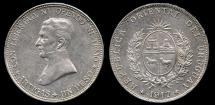 World Coins - 1917 Uruguay 1 Peso AU