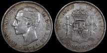 World Coins - 1878 (78) DE-M Spain 5 Pesetas - Alfonso XII - VF
