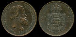 World Coins - 1869 Brazil 20 Reis AU
