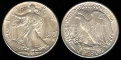Us Coins - 1943 Walking Liberty Half Dollar UNC