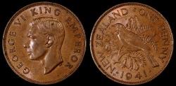 World Coins - 1941 New Zealand 1 Penny AU