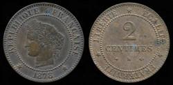 World Coins - 1878 K France 2 Centimes UNC