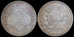 World Coins - 1888 PTS-FE Bolivia 10 Centavos - Overstruck Date - AU Silver