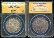 World Coins - 1870 A France 5 Franc - Liberty Head - Paris Mint - Modern Republic - ANACS MS60