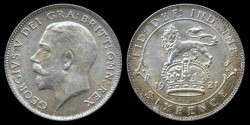 World Coins - 1921 Great Britain 6 Pence UNC