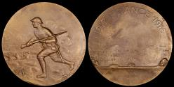 "Us Coins - 1919 France - 1917-1918 World War I American ""Doughboy"" Fighting in France - French Battle Medal by Marccel Prosper Lordnnois"