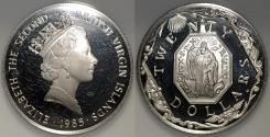 World Coins - 1985 FM(P) British Virgin Islands 20 Dollars - Elizabeth II - Religious Medallion - Proof Silver