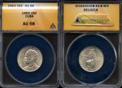 """World Coins - 1953 Cuba 25 Centavos - """"Birth of Jose Marti Centennial"""" Silver - ANACS AU58"""