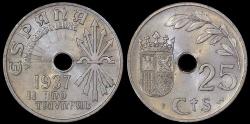 World Coins - 1937 Spain 25 Centimos - Government in Burgos - BU
