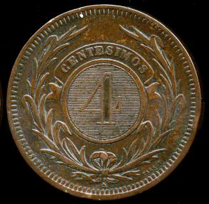 World Coins - 1869 A Uruguay 4 Centesimos AU
