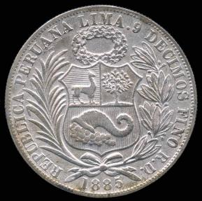 World Coins - 1885 RD Peru 1 Sol AU