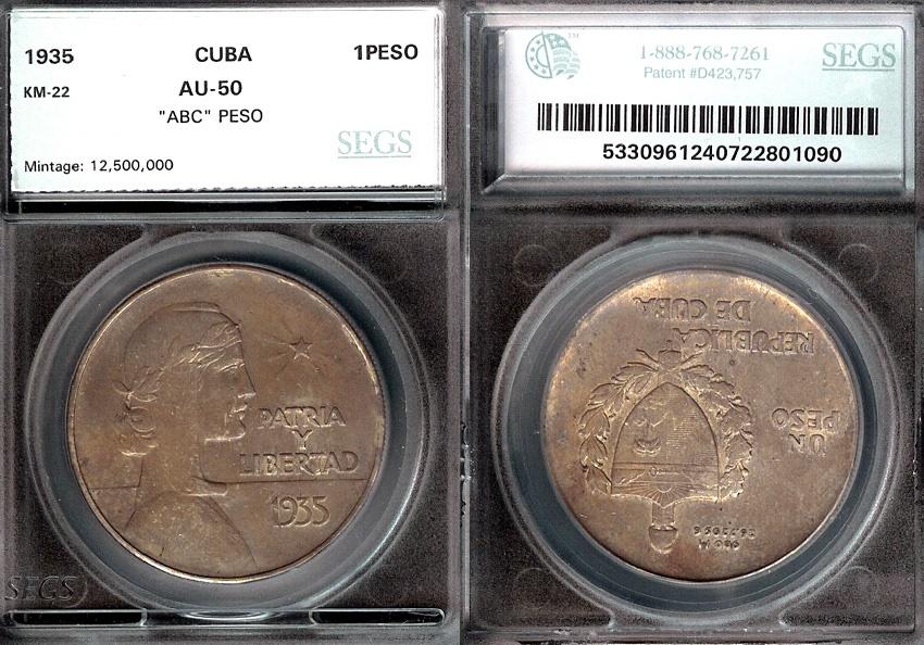 "World Coins - 1935 Cuba 1 Peso - ""ABC Peso"" SEGS AU50"