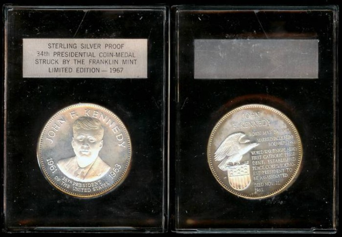 US Coins - 1967 John F. Kennedy Presidential Coin Medal (Franklin Mint) Silver