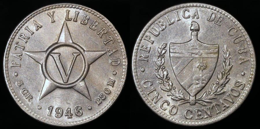 World Coins - 1946 Cuba 5 Centavos BU