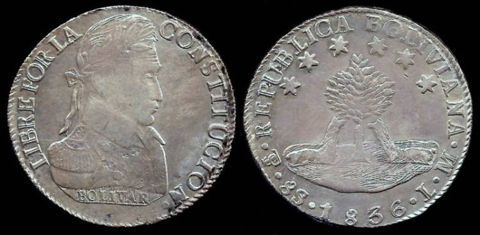 World Coins - 1836 LM-PTS Bolivia 8 Soles AU