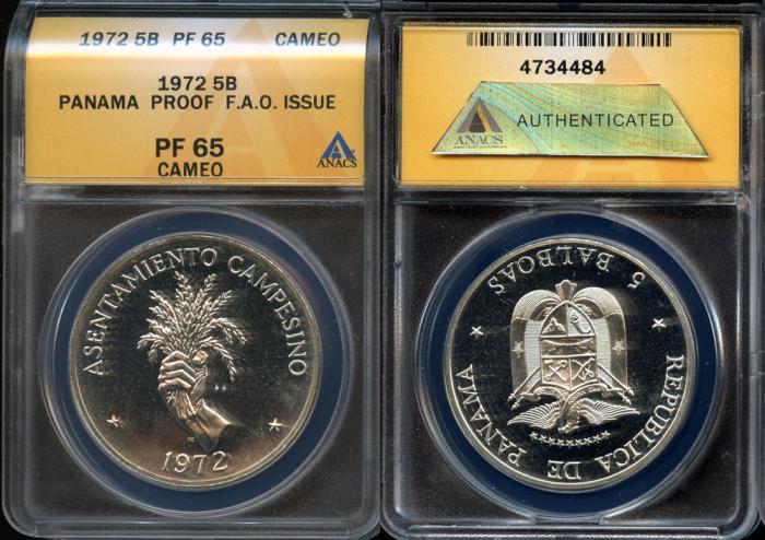 World Coins - 1972 Panama 5 Balboas - Silver F.A.O. Issue - ANACS PF65 Cameo